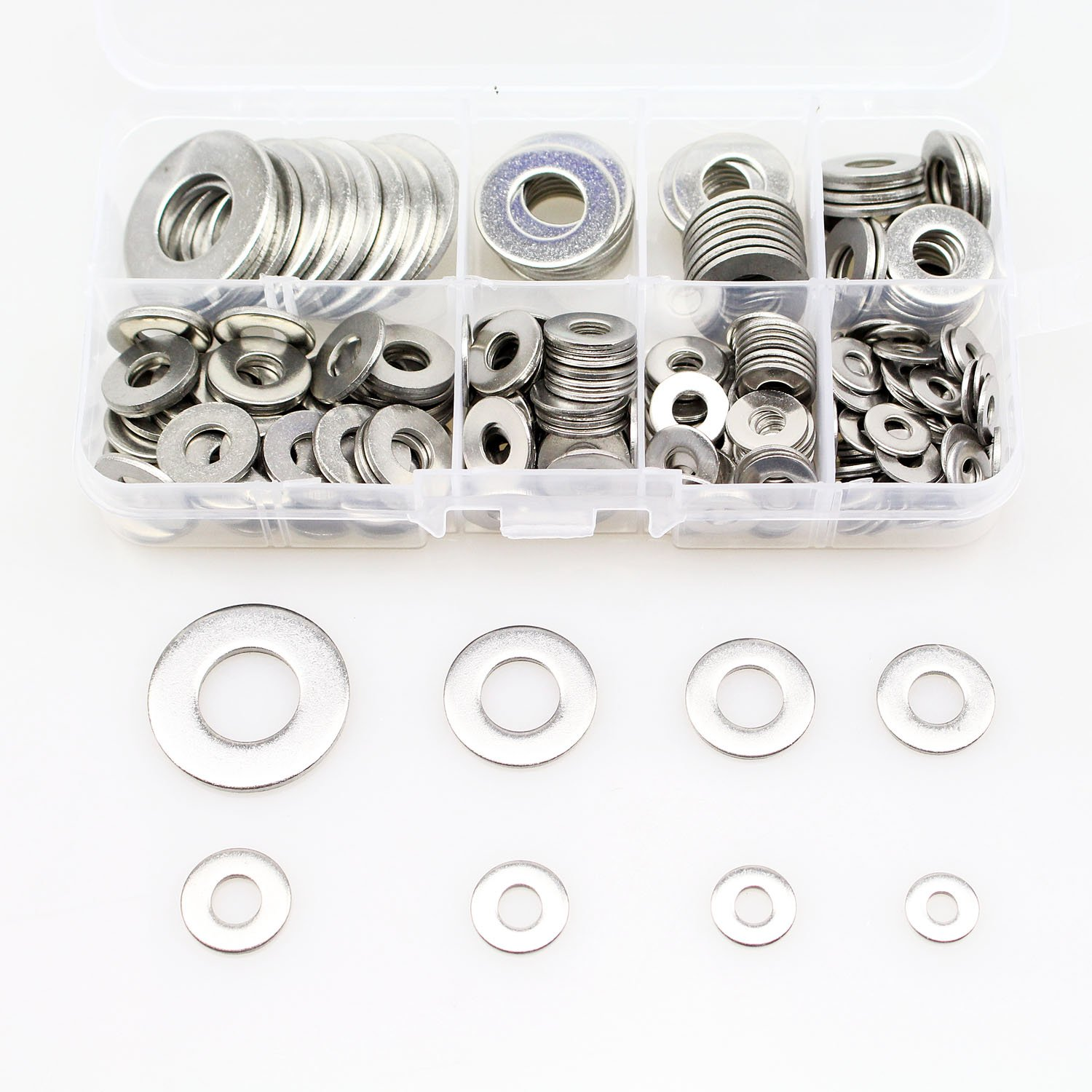 Sutemribor 260Pcs 8 Sizes Stainless Steel Flat Washers, 1/2 3/8 5/16 1/4 12# 10# 8# 6# Hardware Gasket Assortment Kit
