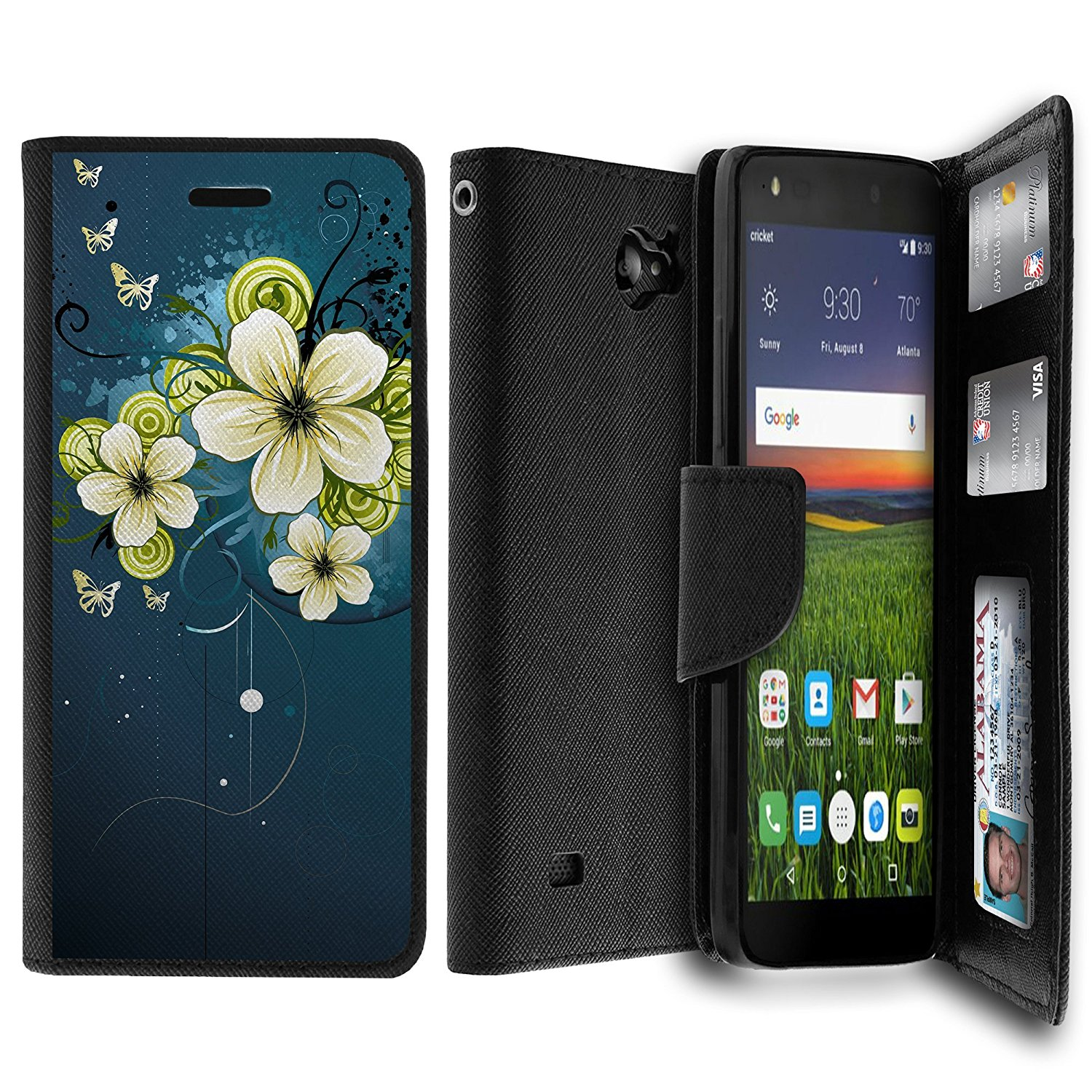 Case for ZTE Majesty Pro Case, Majesty Pro Wallet Case[MAX WALLET] Dual Purpose Wallet Case, Phone Protector and Wallet Style Design Card ID Slot Custom Print Design By Untouchble - Green Flower