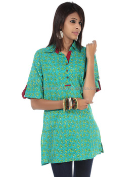 Stand Collar Designs For Kurti : Printed cotton collar neck fold sleeves beach and outdoor