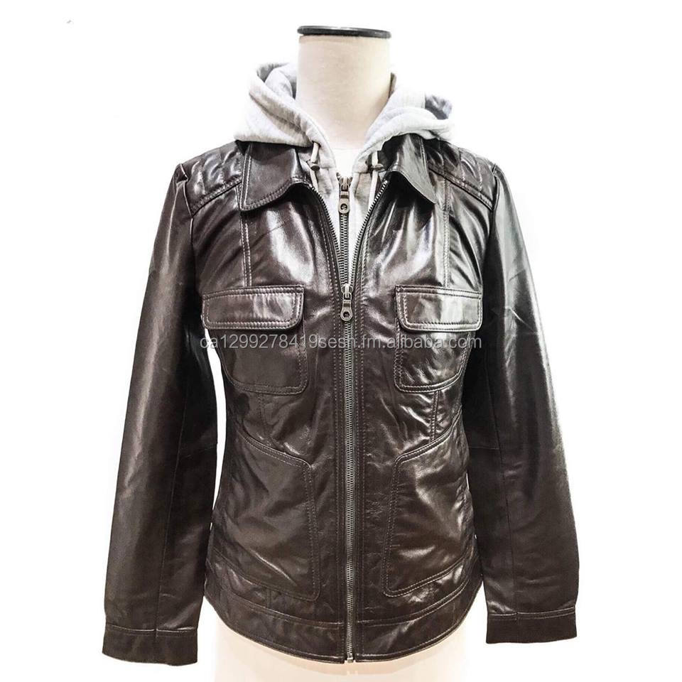 Ladies Sheep Leather Removable hood Bomber Jacket