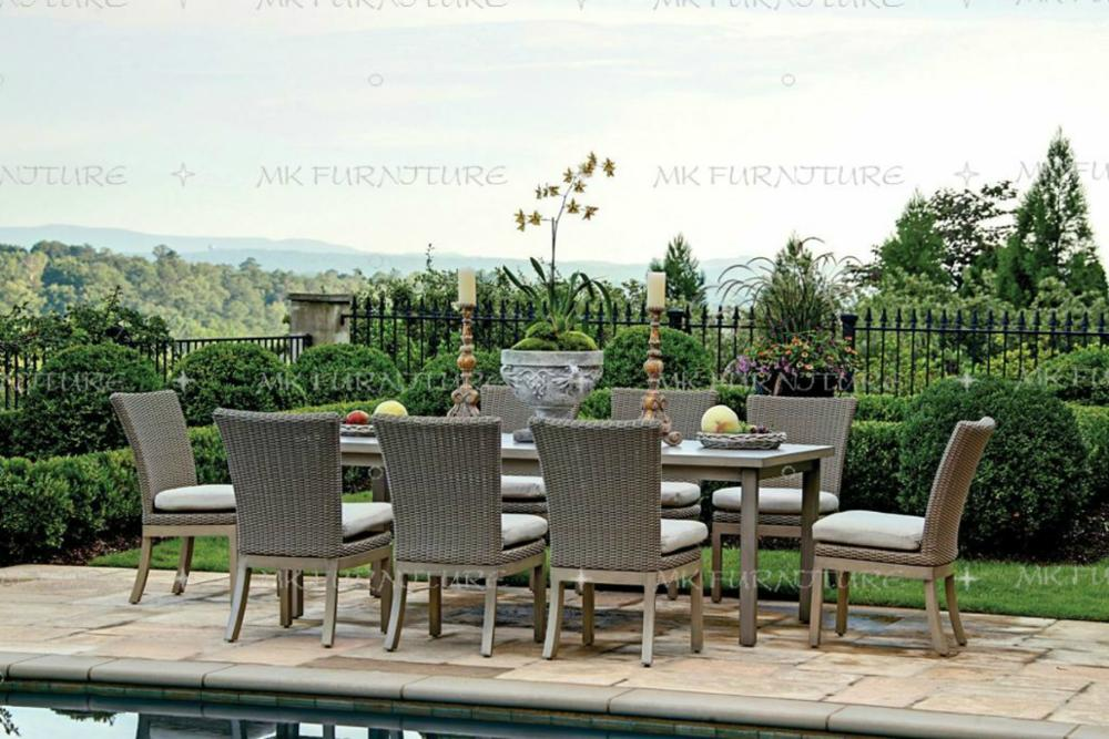 MADC-0228 Solid wood garden outdoor furniture rattan dining table and 8 chairs set