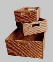 Very Solid Natural Rattan Storage Basket With Handle