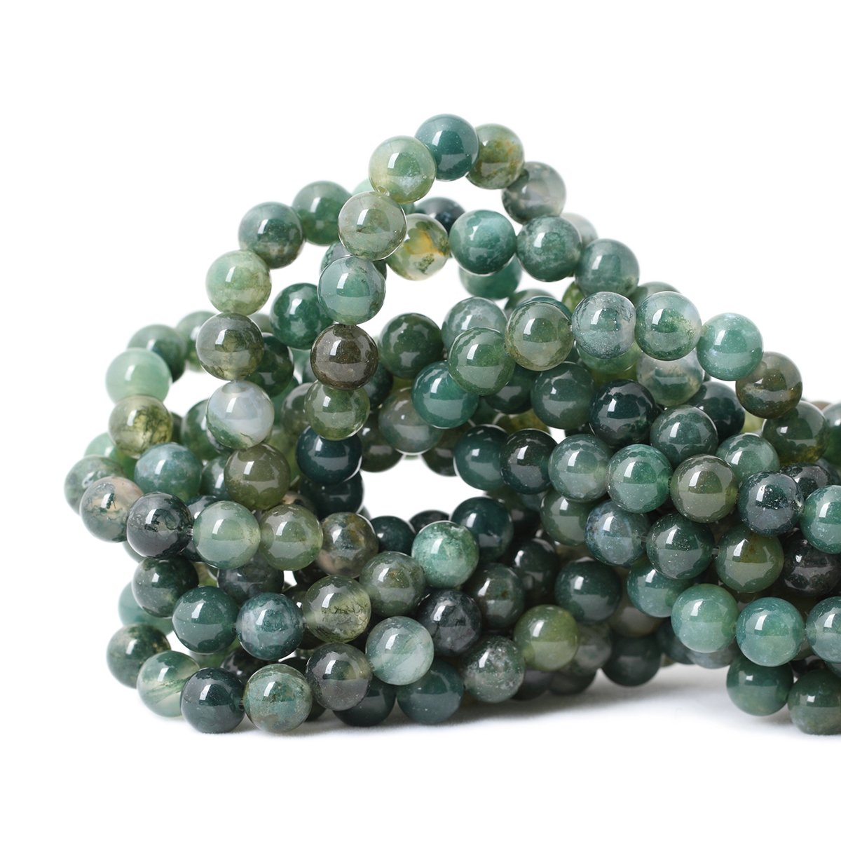 """Qiwan 45PCS 8mm Moss Agate Gemstone Loose Beads Natural Round Crystal Energy Stone Healing Power for Jewelry Making 1 Strand 15"""""""