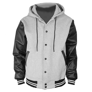 Men's Hoodie Leather Cotton Baseball Varsity Jacket Gray / varsity jackets with best quality of varsity jacket hoodie