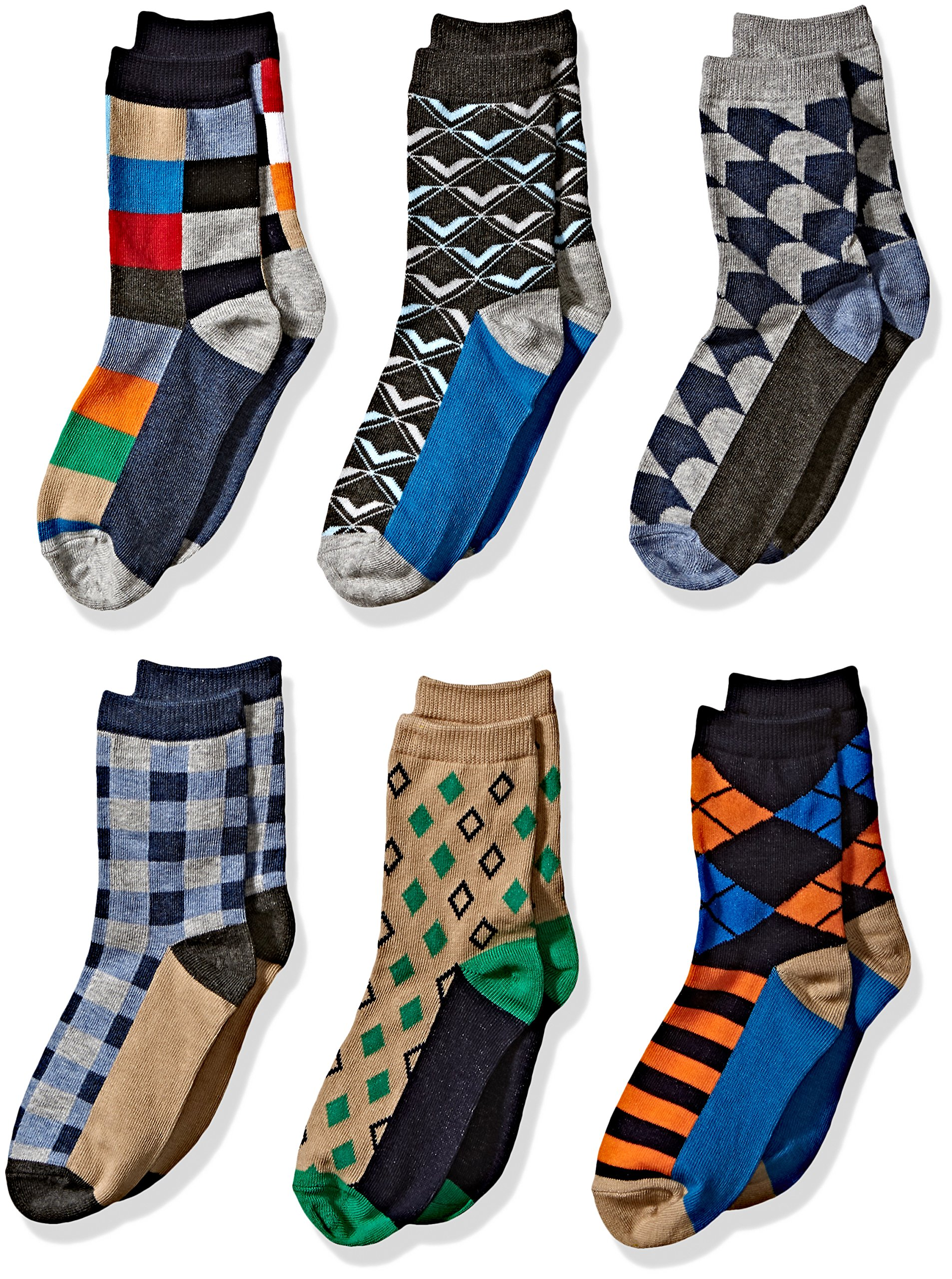 e99c2a15ac28a Get Quotations · Jefferies Socks Little Boys' Fun Colorful Dress Crew Socks  6 Pair Pack