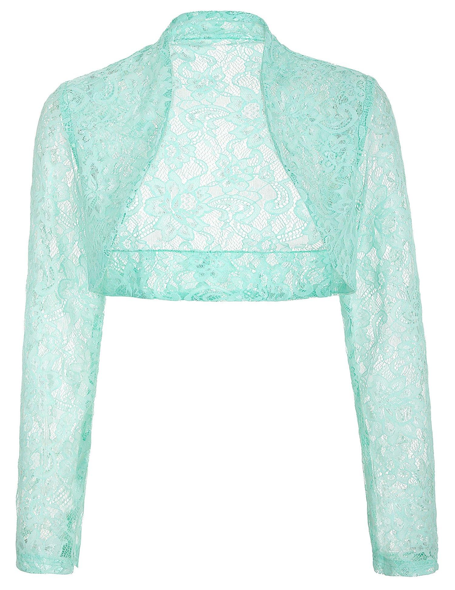 Get Quotations · JS Fashion Vintage Dress Belle Poque Women s Long Sleeve  Floral Lace Shrug Bolero Cardigan JS49 7cddb20de