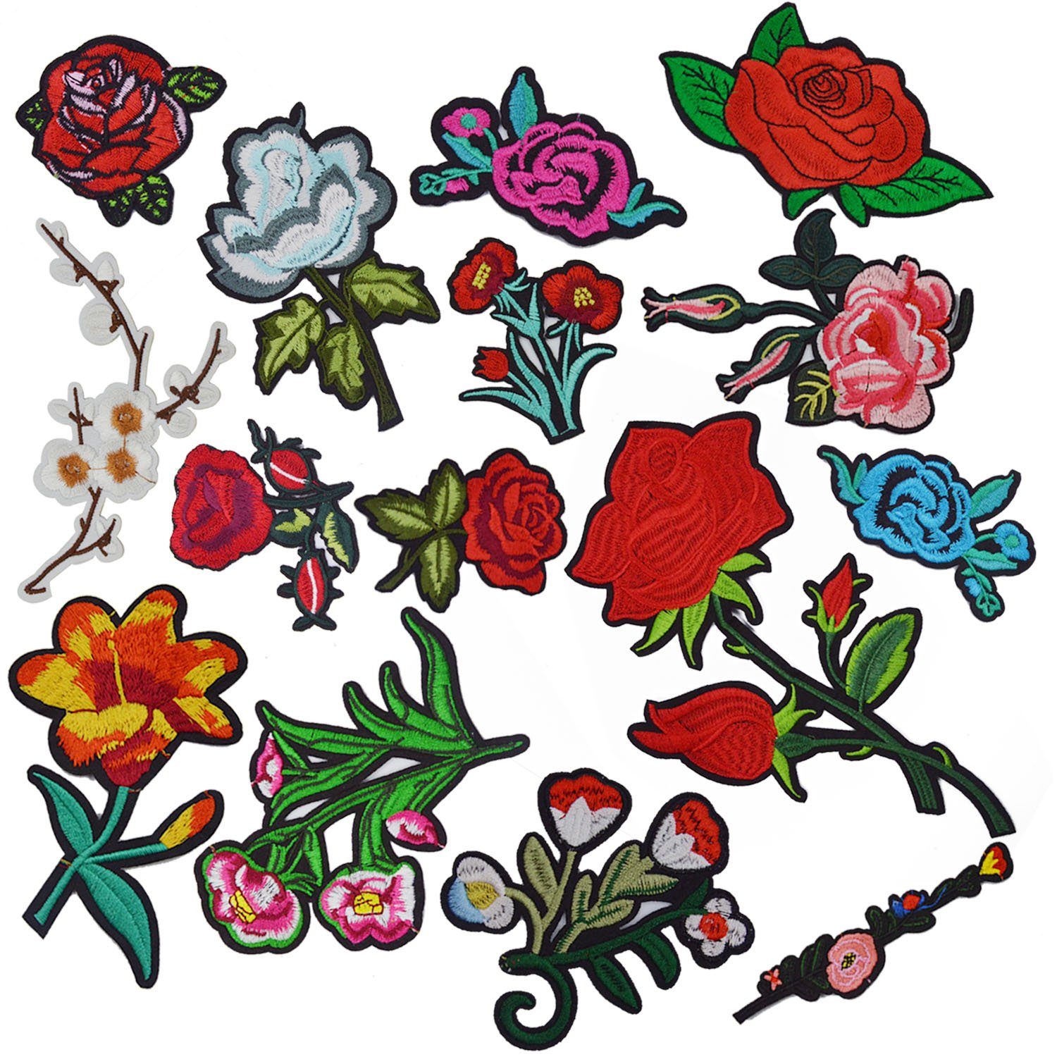 Flower Iron On Patches For Clothing, Satkago 15Pcs Rose Patches Flower Patches Iron On or Sew On Applique Embroidered Patches For Jeans Jackets Backpacks