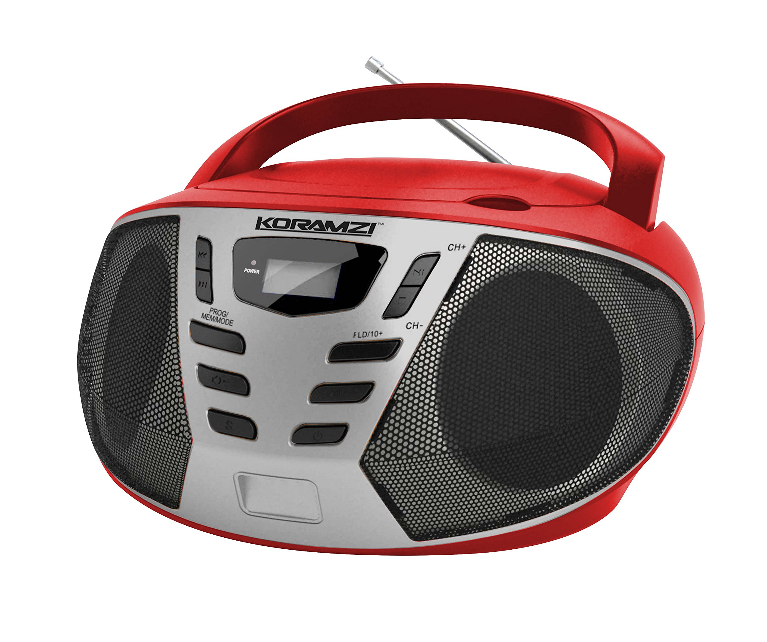 KORAMZI Portable CD Boombox w/AM/FM Radio,AUX in, Top Loading CD Player,Telescopic Antenna, LCD Display Indoor & Outdoor,Offices, Home, Restaurants, Picnics,School,Camping (Red/Silver) CD55-RDS
