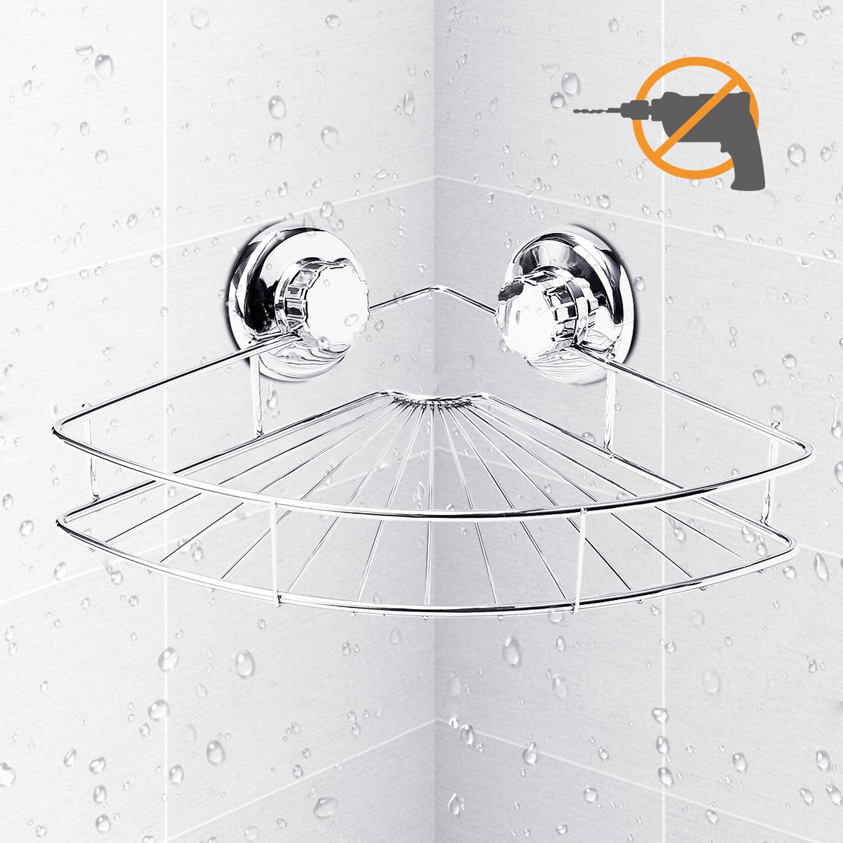 Shower Corner Caddy, TAPCET Shower Shelf Bathroom Shelf Shower Corner Basket with Suction Cup, Wall Mounted Shower Caddy Stainless Steel Bath Shelf, Polished Chrome