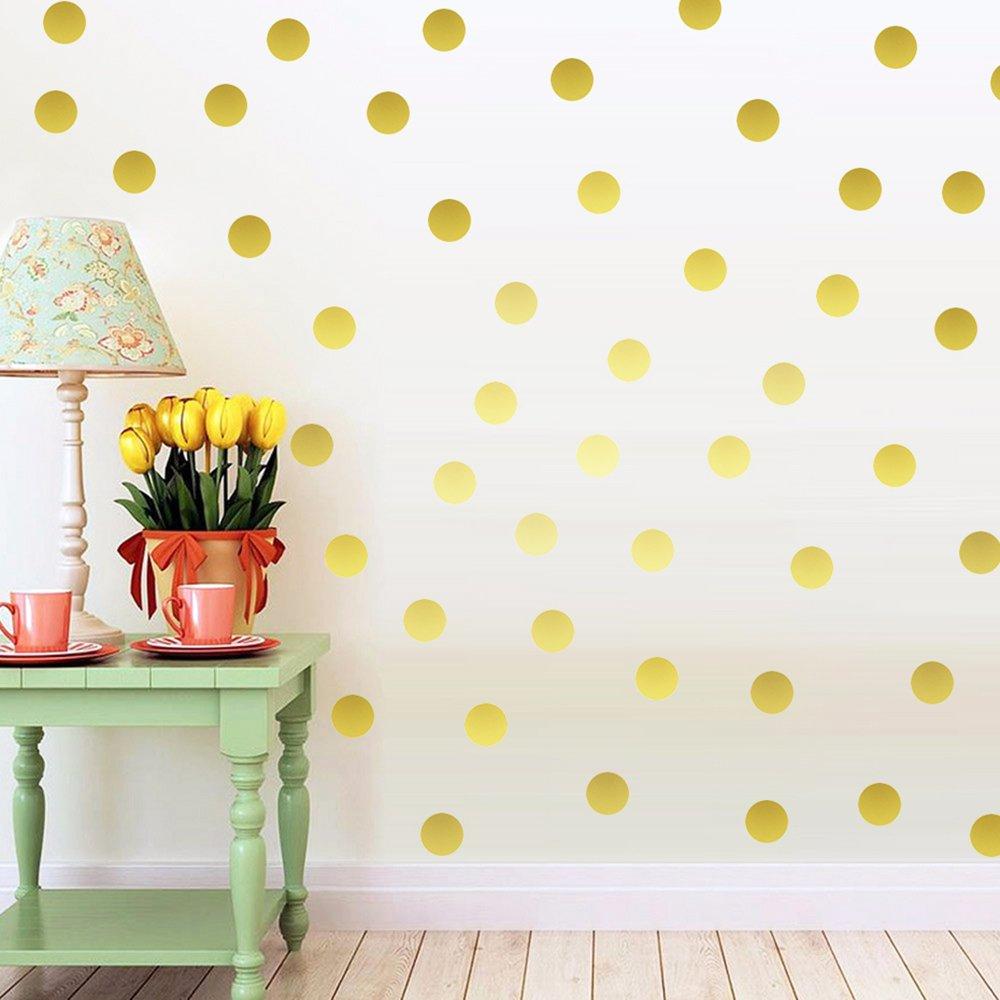 2 Sheets Baby Room Nursery Decoration M/&E Glitter Gold Wall Decals 1 Glitter Gold Gold dot Wall Decals Polka dot Wall Decals Total 140 dots 1 inch Each 1 Gold Confetti