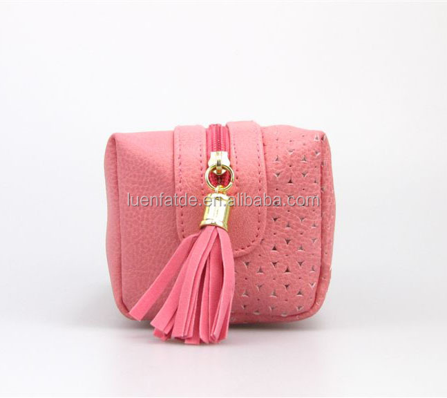 Fashion PU leather Cosmetic Bag Makeup Bag with tassel