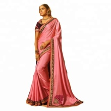Saree en <span class=keywords><strong>Soie</strong></span> <span class=keywords><strong>De</strong></span> coton/Saree Indien/<span class=keywords><strong>Plaine</strong></span> Saree Avec Dessins <span class=keywords><strong>de</strong></span> Bordure
