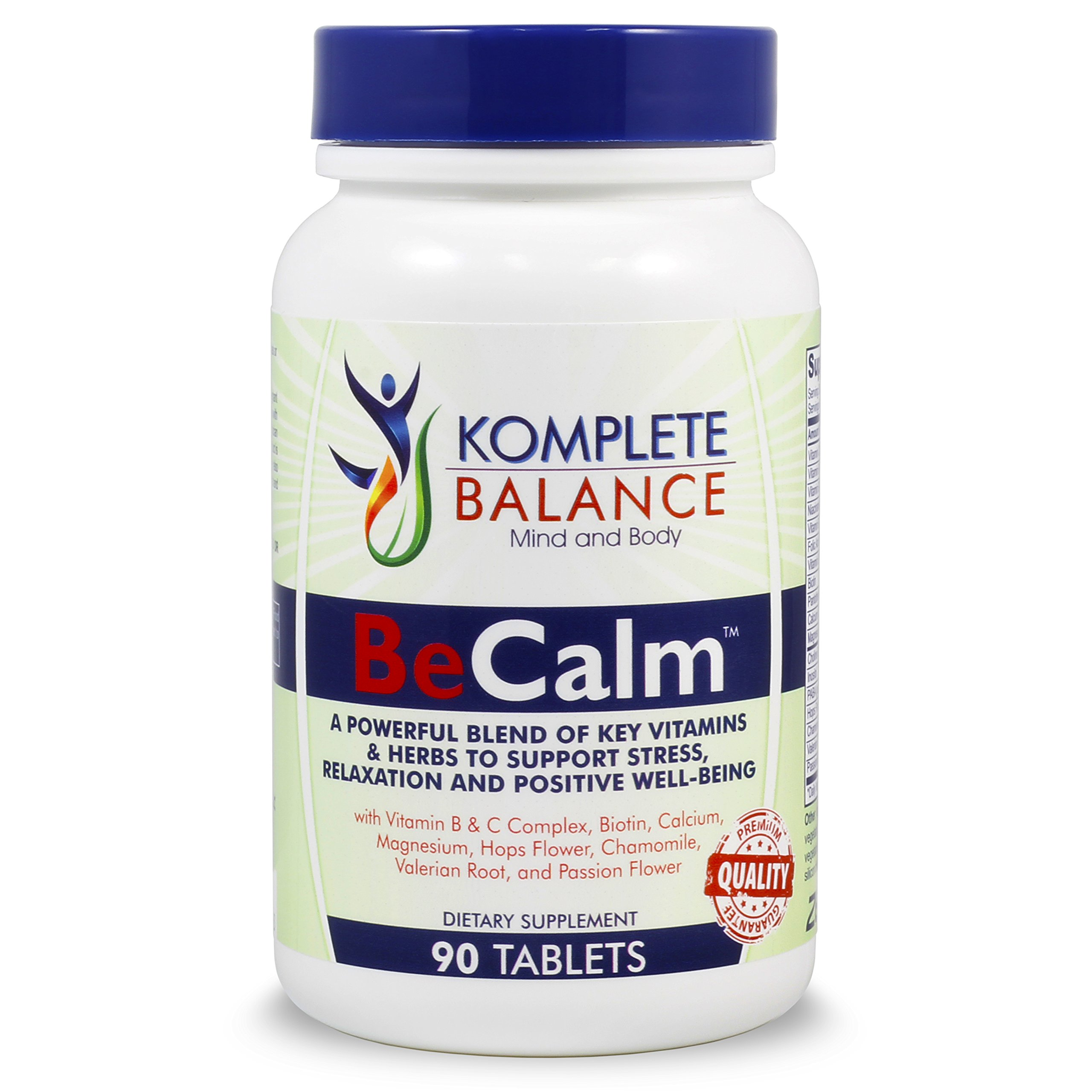 BeCalm   Premium Stress & Anxiety Relief Supplement, Natural Sleep Aid, Adrenal Support, Cortisol Manager, Mood Booster - Vitamin B Complex, Valerian Root & Chamomile To Calm, Soothe & Relax- 90 Count