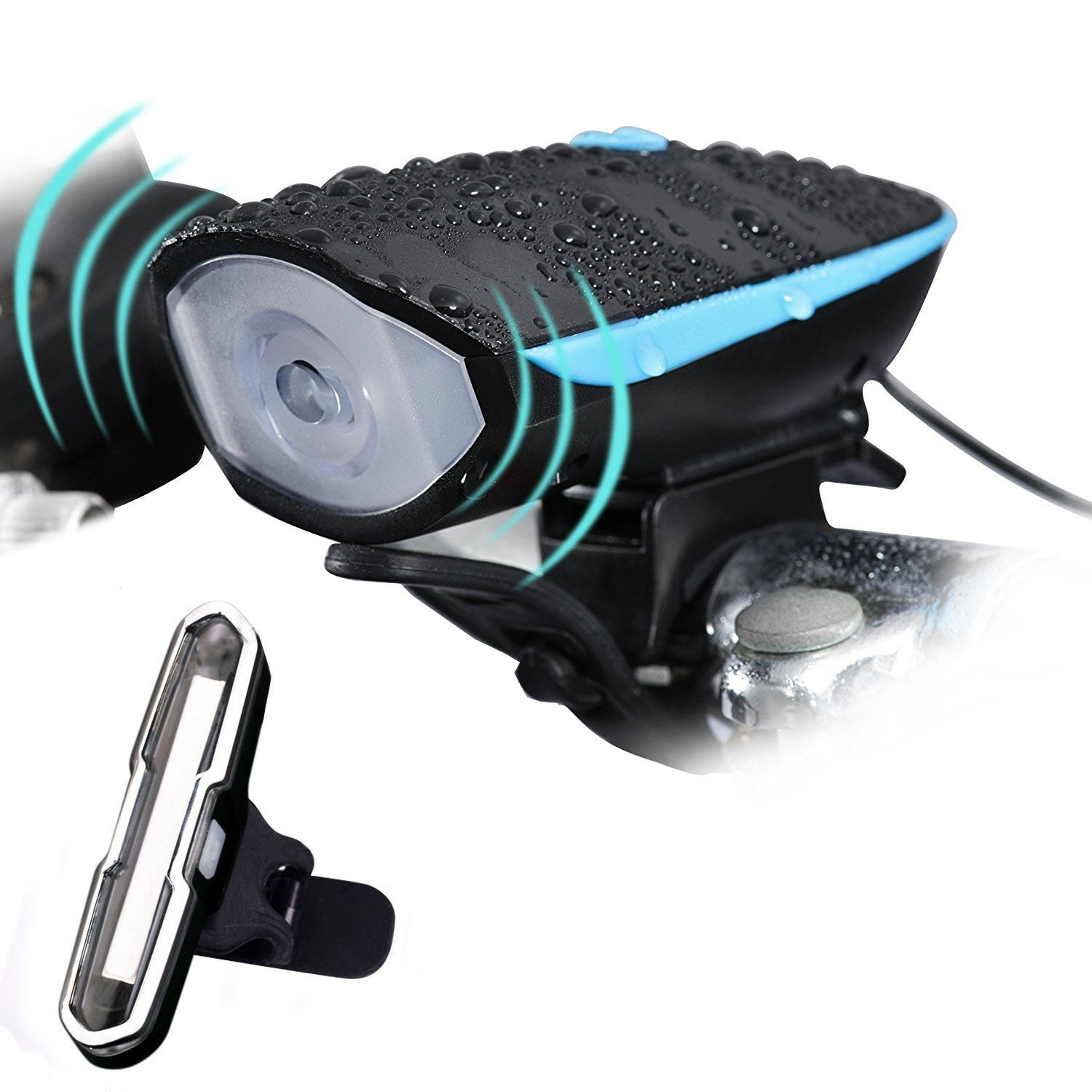 Banzi Mountain Bike Light Set, Super Bright Waterproof USB Rechargeable Front and Rear Bicycle Light Set with 140 DB Loud Horn