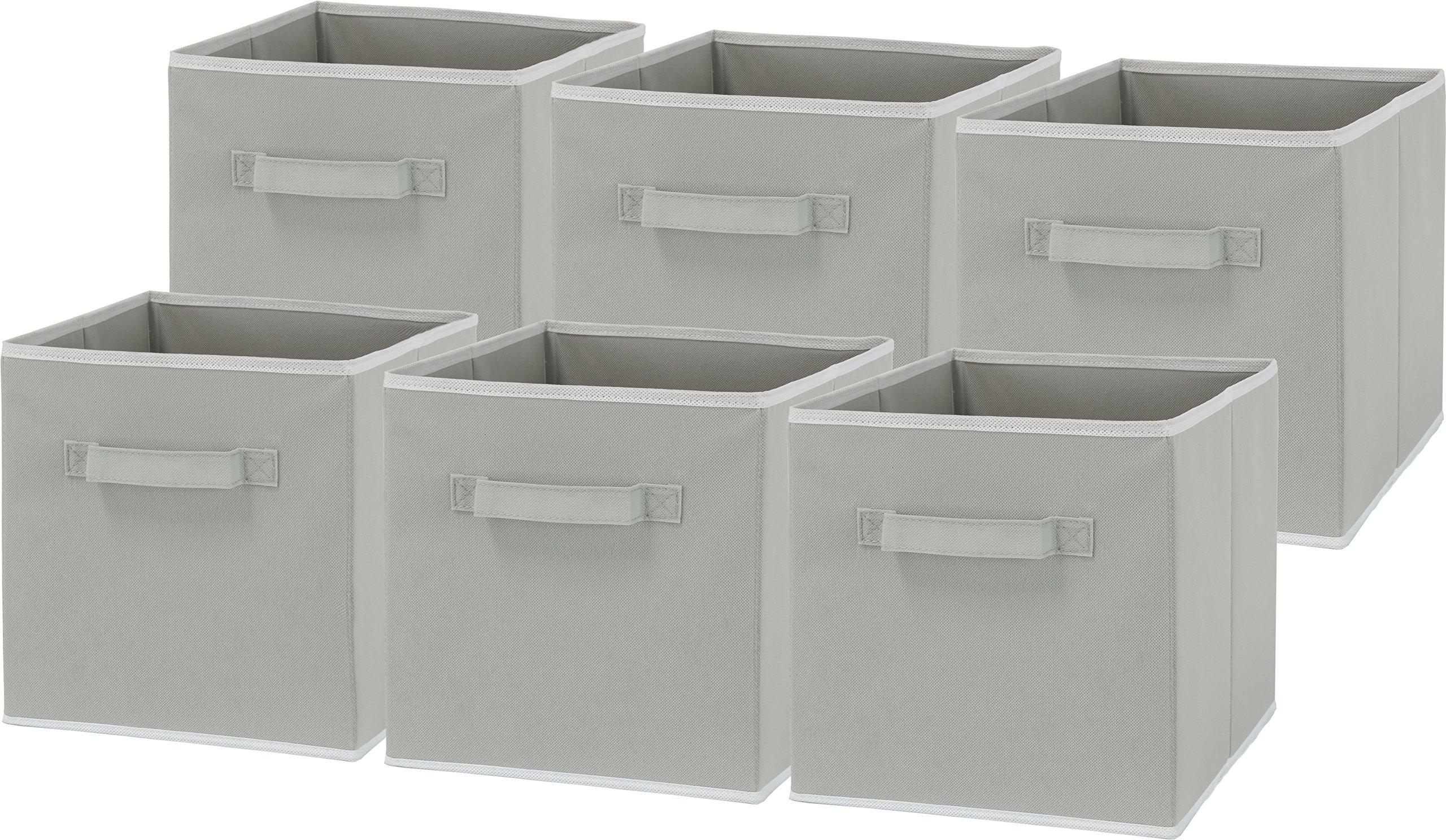 Get Quotations · 6 Pack   SimpleHouseware Foldable Cube Storage Bin, Grey
