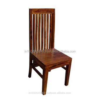 Industrial Acacia Wood High Back Dining Chair Vintage Solid Wood