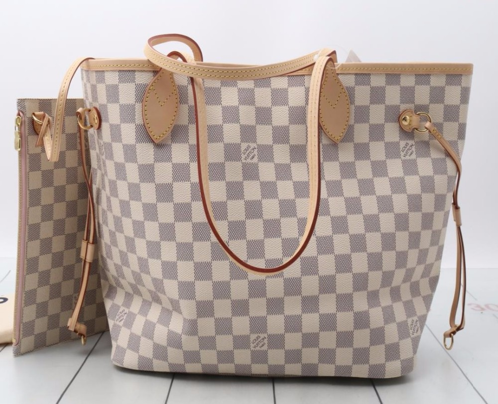 7776c00cbc12 Used designer Brand Handbag LOUIS VUITTON N51186 Damier Azur Neverfull MM  Tote bags for bulk sale.
