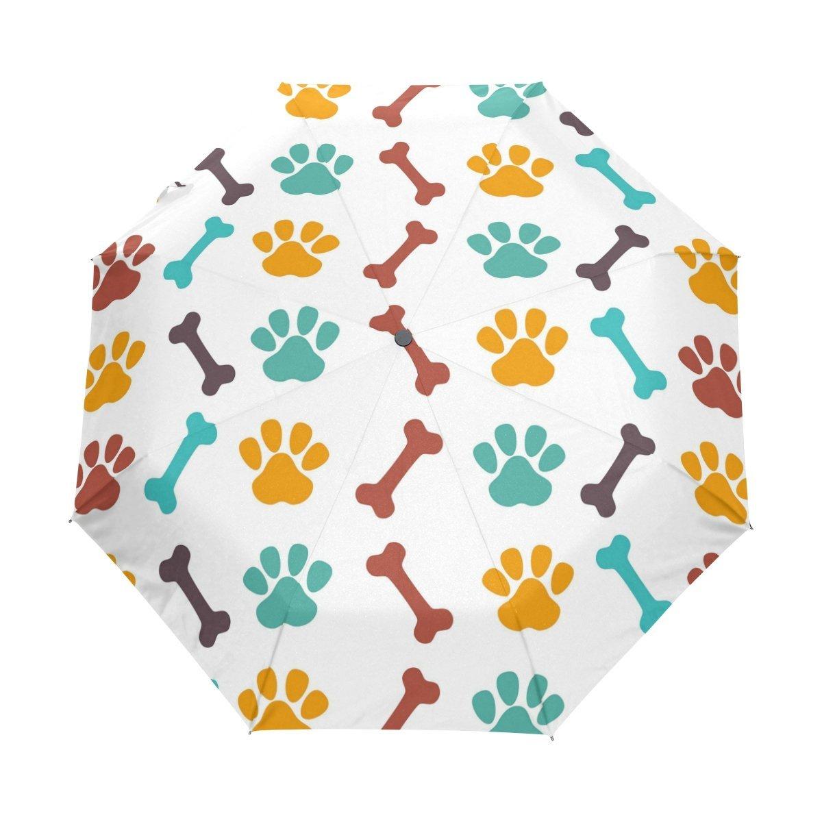 WOZO Cute Paw Dog Bone 3 Folds Auto Open Close Umbrella