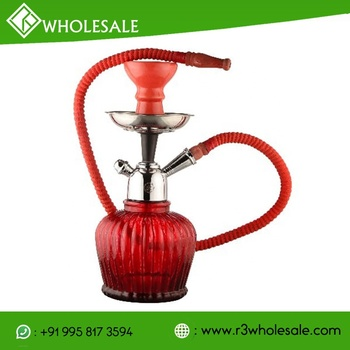 R3 10 Inch Tall Glass Hookah with Metal Ash Catcher and Ceramic Hookah Bowl