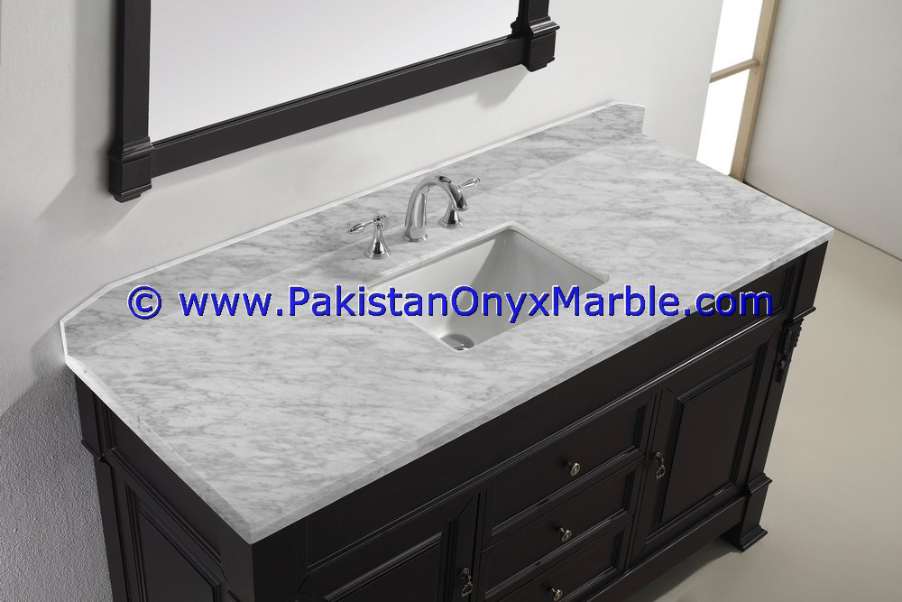 Cheap Price marble vanity top for rectangular square rounds sinks modern design styles decor home bathroom Ziarat White Carrara