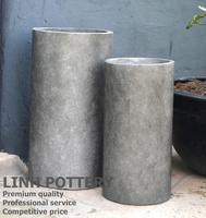 Tall cement color Cylinder contemporary concrete pot/planter for home and garden