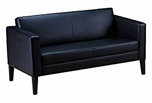 """Mayline Leather Loveseat Overall Dimensions: 53 1/2""""W X 29""""D X 29 1/4""""H Seated Area Dimensions: 44.5""""W X 20""""E X 12.25""""H Seat Height: 17"""" - Black"""