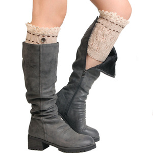 Fashion Lace Trim Knit Boot Socks Cuffs Women Boot Toppers With Lace Women Lace Trim Button Boot Cuff