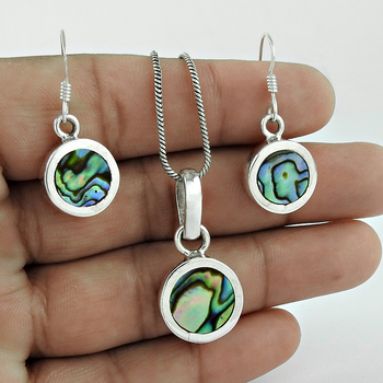 Abalone Shell pendant earrings set 925 sterling silver jewelry wholesale price silver jewelry set