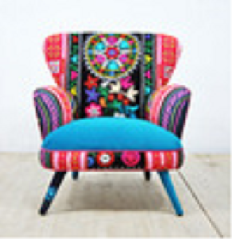 Indian Style Colorful Hand Made Embroidery Handwork Sofa Chair Kantha Patchwork Maharajah