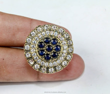 Unique 925 Sterling Silver Overlay Sapphire Cz Turkish Ring