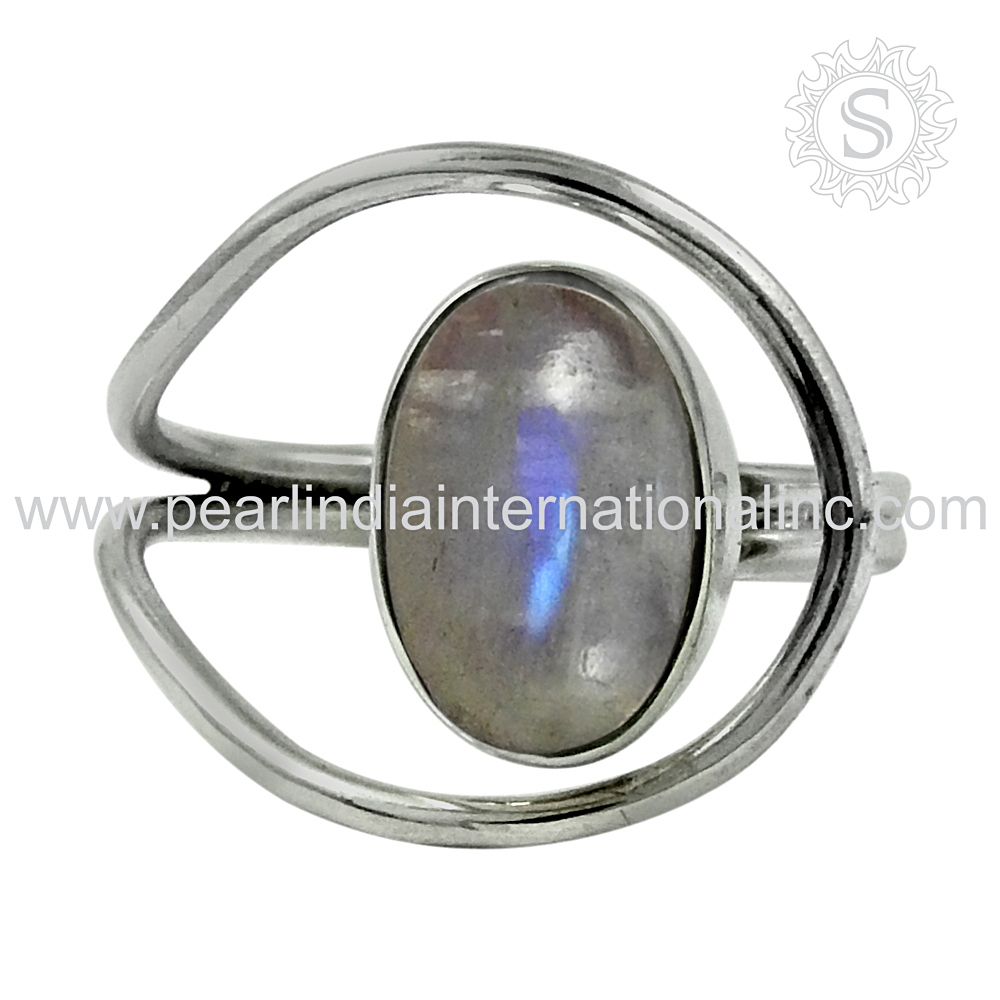 rainbow moonstone gemstone engagement rings trendy 925 sterling silver rings wholesale price jewelry