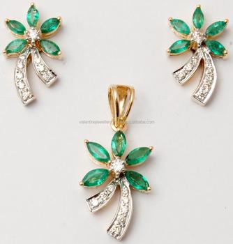 Fl Design Marquise Emerald Diamond Pendant Set Indian Manufacturer