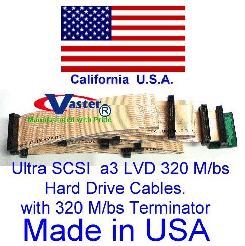 Ultra SCSI Ribbon 320 M/bs SCSI Ribbon Cable with 320 M/bs Terminator (9 Connector 8 Drive)
