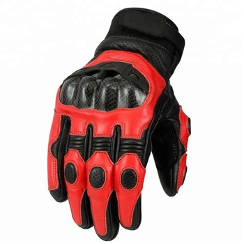 Mens Short Cuff Leather Motorcycle Motorbike Gloves