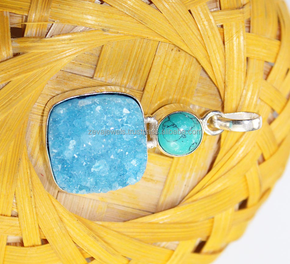Stunning GreenTurquoise & Sky Blue Sugar Druzy Slice 24k Gold Plated Pendant Wholesale , Jewelry