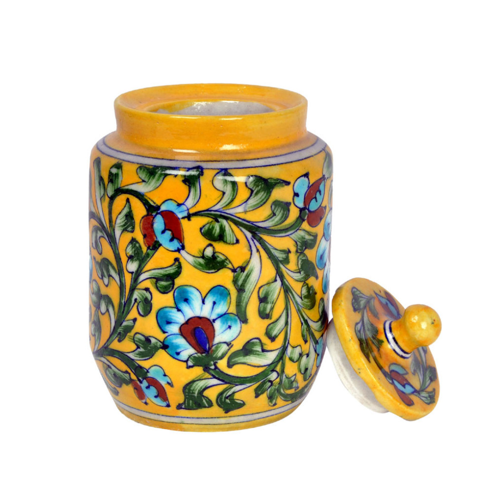 Vintage Yellow Floral Printed Kitchenware JAR Handcrafted Wheel Thrown Art Studio Pottery Exclusive Handmade
