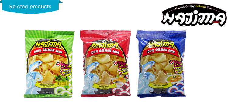Hajima Crispy Skin Salmon 100% Fish Snack With Seafood sauce Chips From Thailand