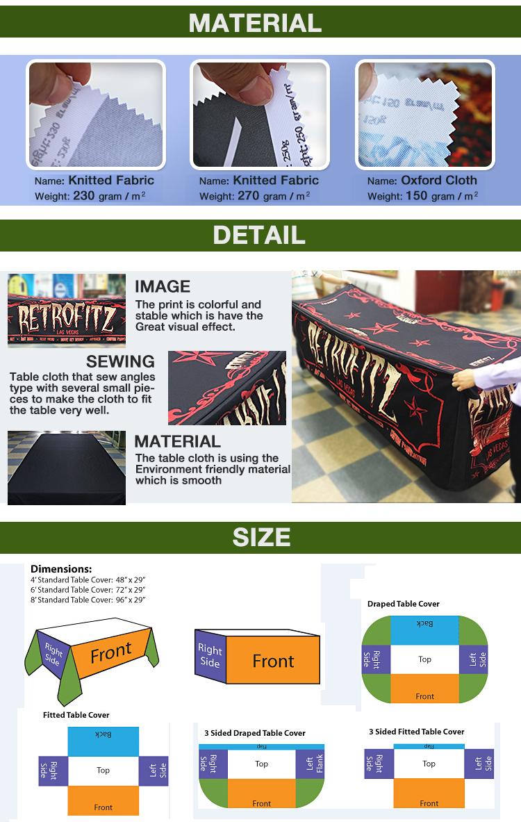 Großhandel Fabrik Preis Hohe Qualität 4ft 6ft 8ft Custom Print Tisch Tuch