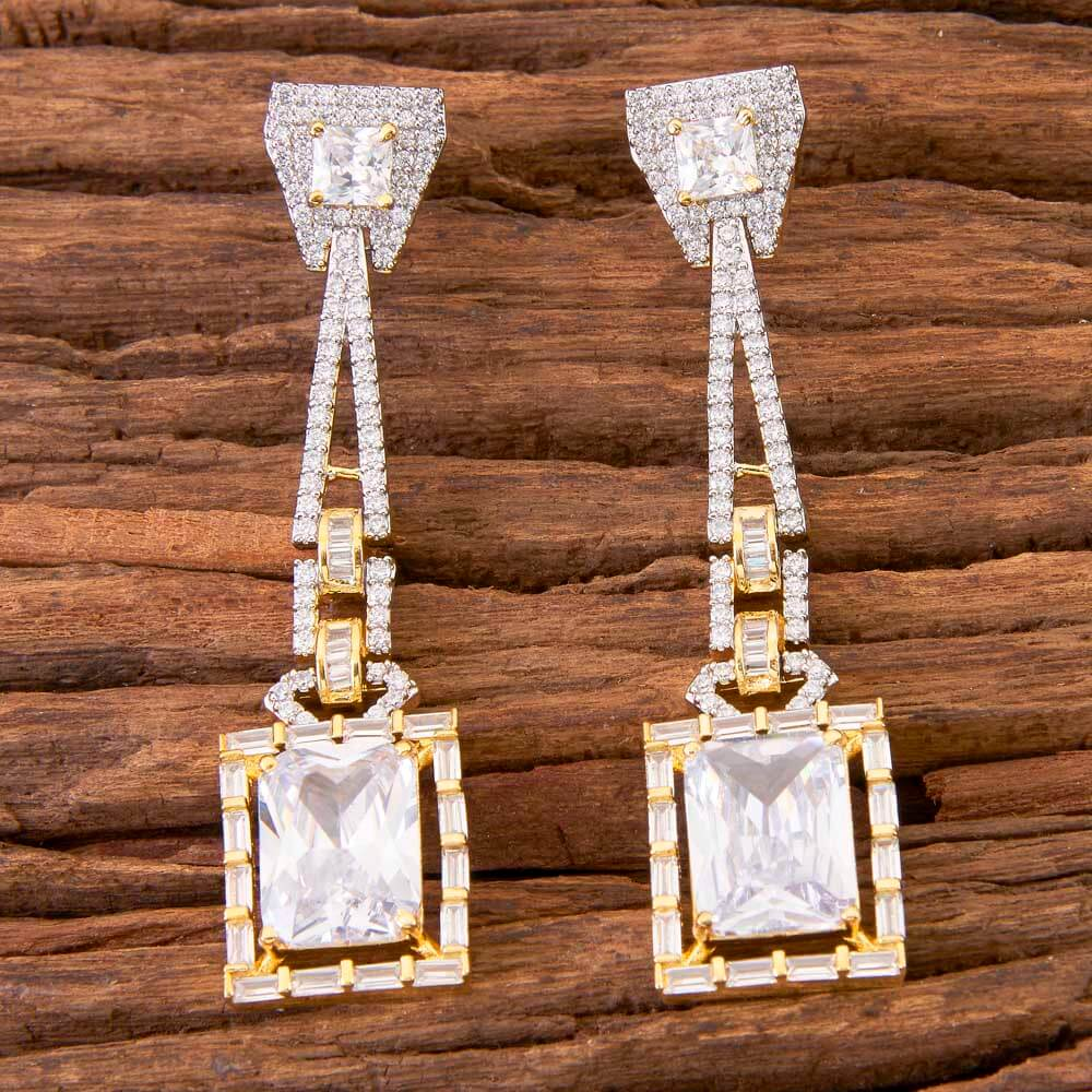 2 Tone Plated Classic Earring In Wholesale Jewelry 58462 White