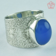 Heavy Design Blue Chalcedony Stone Ring 925 Sterling Silver Ring Wholesale Jaipur Silver Jewelry