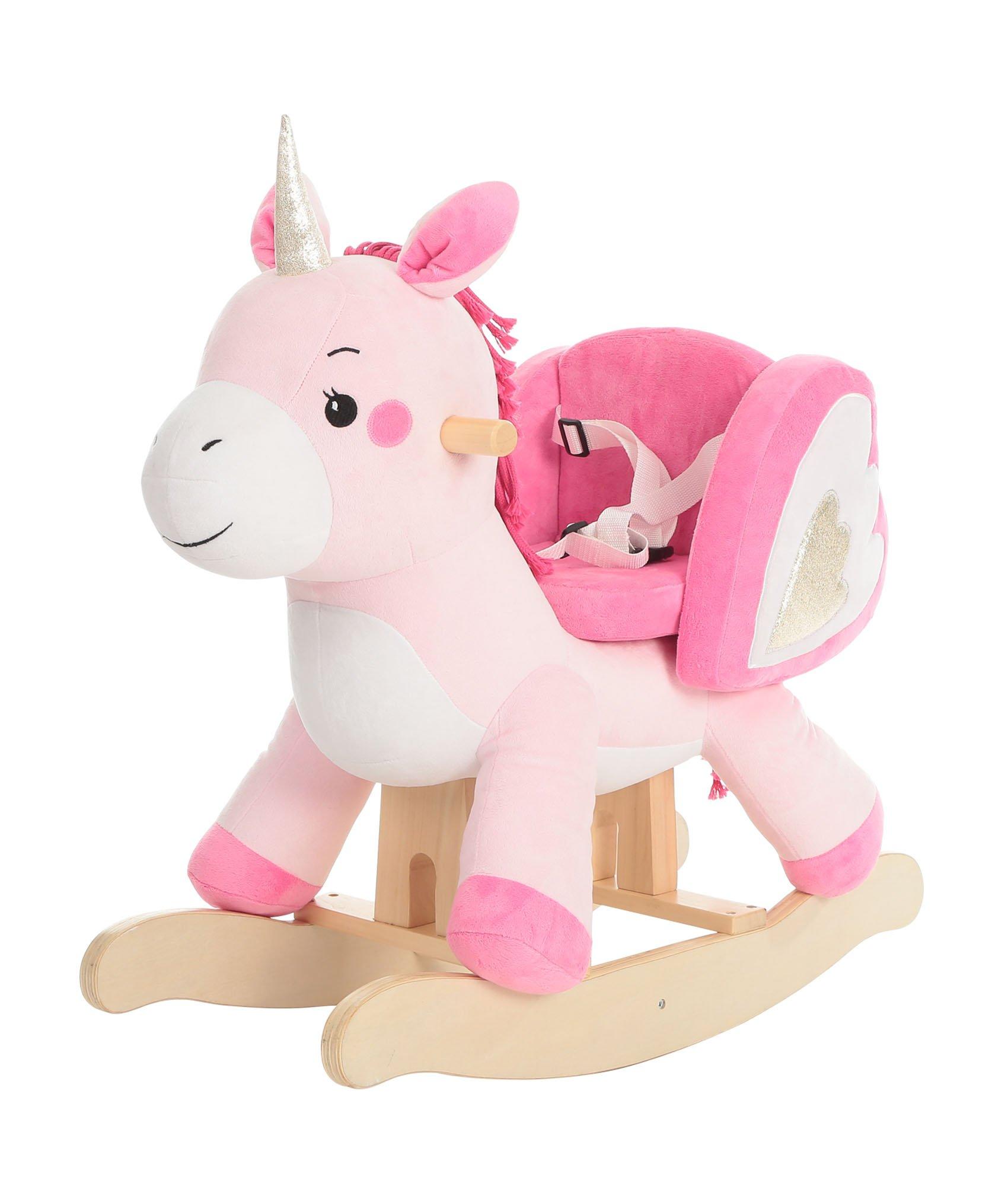 labebe Child Rocking Horse Toy, Pink Rocking Horse Plush, Unicorn Rocker Toy for Kid 1-3 Years, Stuffed Animal Rocker Toy/Child Rocking Toy for Girl/Wooden Rocking Horse Pink/Rocker/Animal Ride on