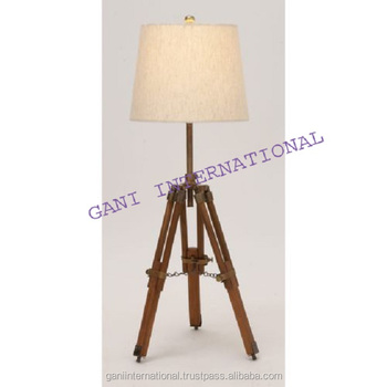 Metal Tripod Table Lamp With Wooden Stand Decorative Item