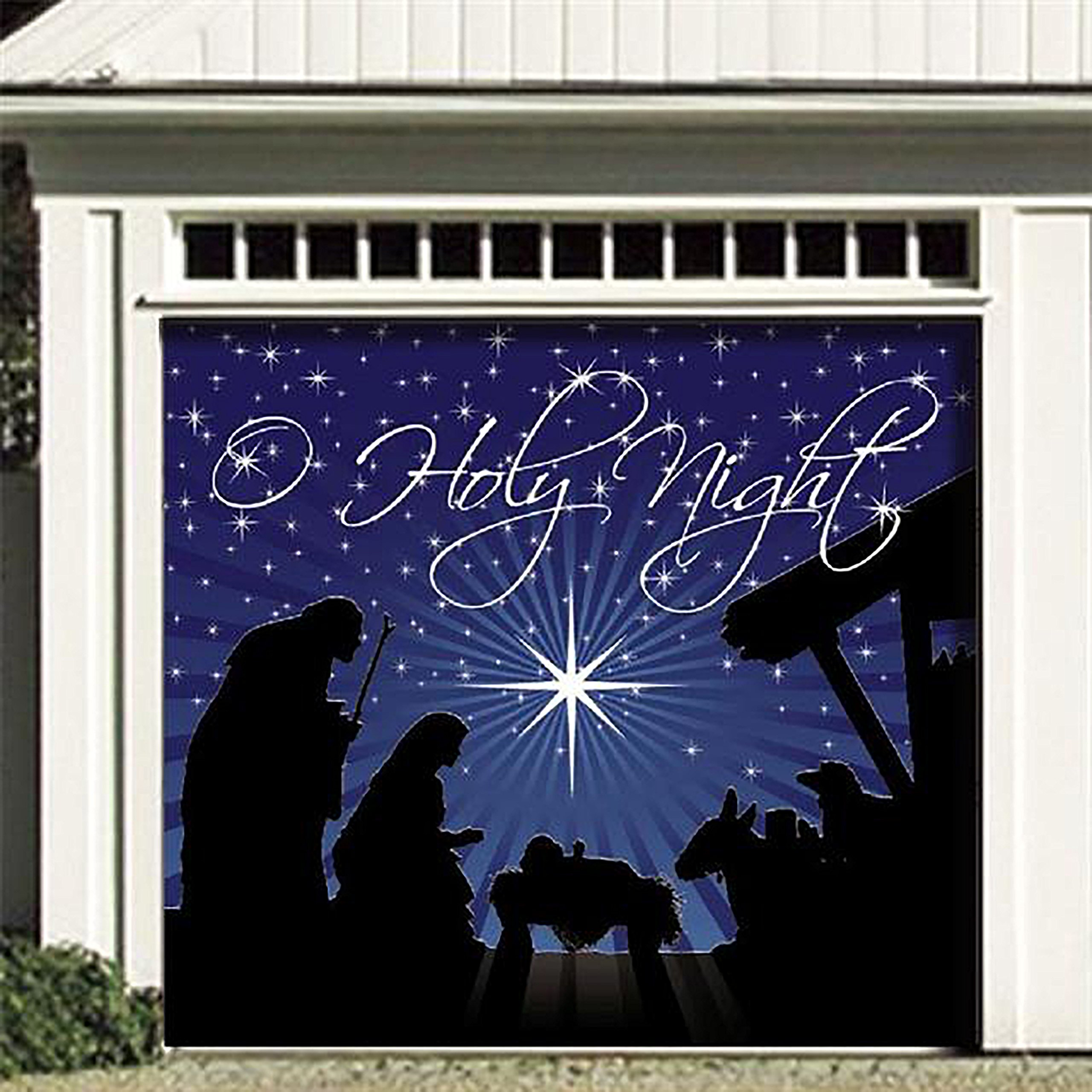 Victory Corps Outdoor Christmas Holiday Garage Door Banner Cover Mural Décoration - O'Holy Night Holiday Garage Door Banner Décor Sign 7'x8'