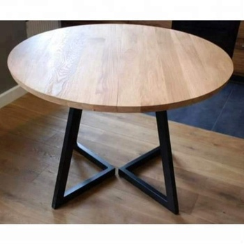 Vintage Iron Metal Solid Wood Round Folding Dining Table Exotic Tables Leg 84