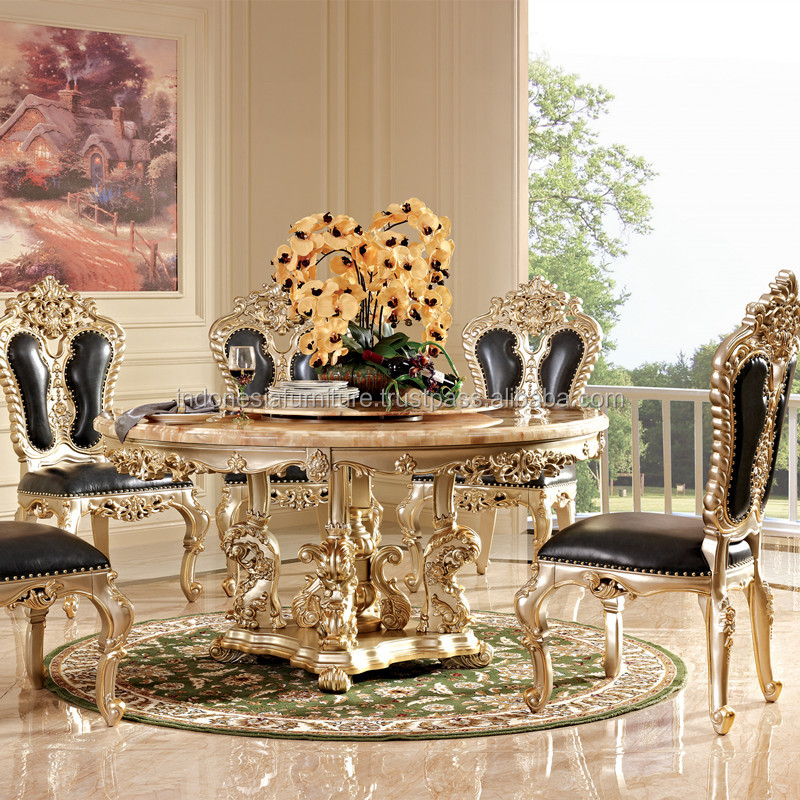European Marble Round Dining Table Solid Wood And Chair Combination Six Chairs Living Room Furniture Home
