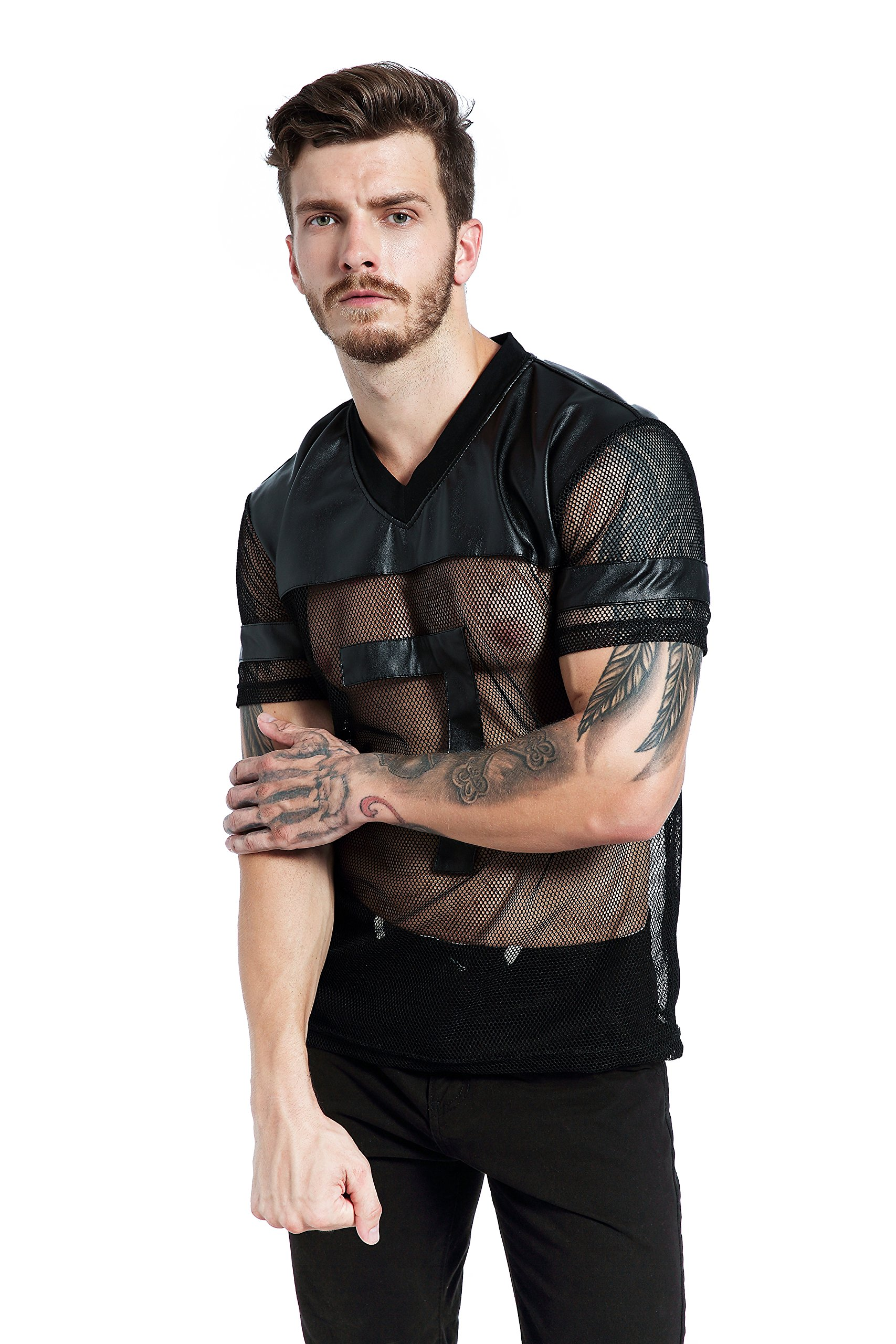 e6d178e3934f6 Get Quotations · F plus R Mens Novelty Character T-Shirt Fashion Faux  Leather Mesh Stitching Tees