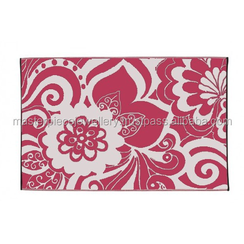 Classic Design Pink 4x36 OUTDOOR Reversible Polypropylene Exercise Floor Mats Unique Area Rugs Bamboo Rug
