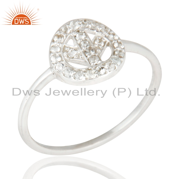 Peace Design 925 Sterling Silver Ring Wholesale White Topaz Gemstone Ring Jewelry Manufacturer