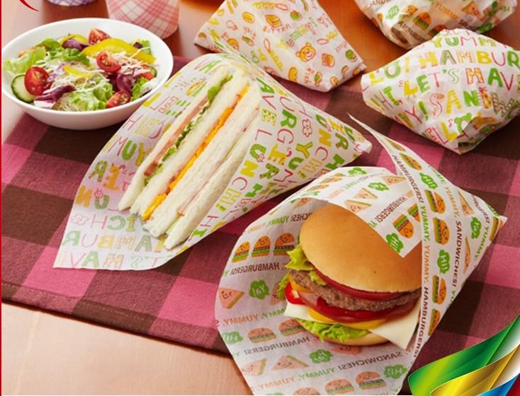 Papel de Cera de Embrulho Sandwich À Prova de graxa Impresso Gorduras Baking Papel De Embrulho Para Presente Embalagem Padaria Hambúrguer Sanduíche