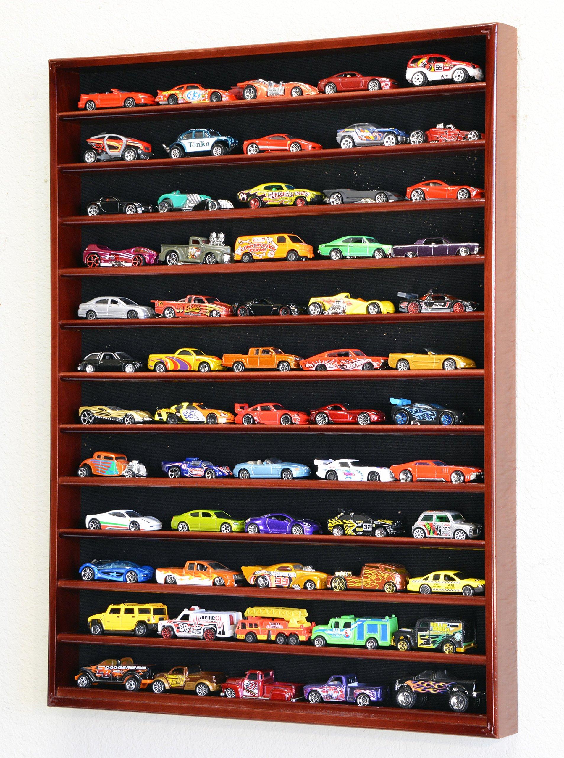 60 Hot Wheels Hotwheels Matchbox 1/64 Scale Diecast Model Cars Display Case - NO DOOR (Cherry Wood Finish)